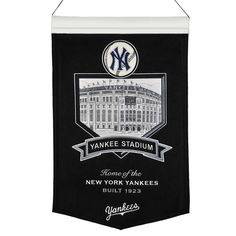 Decorate your office or game room with a banner which features a stadium Illustration and team graphic. The banner is constructed of wool and includes embroidery and applique. A hanging rod and cord i