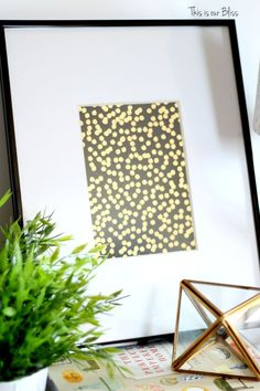 black & gold foil polka dot journal turned art - guestroom art - gallery wall - vignette - This is our Bliss