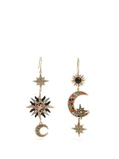 Roberto Cavalli Sun, star and moon-embellished drop earrings