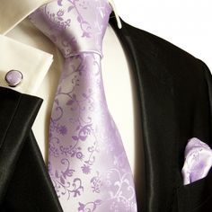 Paul Malone Necktie, Pocket Square and Cufflinks Set, Lavender Vines (P93CH)
