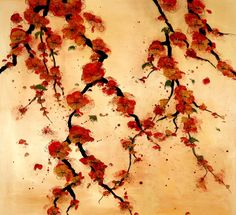 Hanging Blossoms in Vermillion/Copper by Lily Greenwood www.lilygreenwood.com