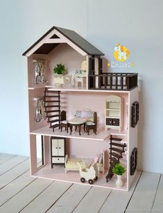 Buy or order the Dollhouse in the . Diseno Buy or order a Dollhouse in the online store on the Fair Masters. With delivery in Russia and the CIS. Production time: from 7 to 14 days. Kids Doll House, Doll House Crafts, Doll House Plans, Toy House, Barbie Doll House, Cardboard Dollhouse, Wooden Dollhouse, Cardboard Crafts, Diy Dollhouse