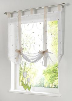 "Uphome 1pc Adorable Bowknot Embroidered Floral Tie-Up Roman Curtain - Tab Top Sheer Kitchen Balloon Window Curtain (31""W x 55""H, Sand)"