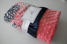 Premier Prints Blooms Mockingbird Minky Cuddle Coral, Navy, and White Minky Blanket, Crib Bedding, Nursery, Baby Shower, Baby Girl