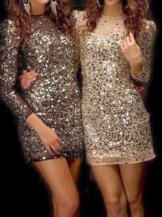 Gorgeous brown and creamy sequinned dresses