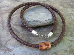Mens Chains – Necklace olive wood  dark brown leather  cord – a unique product by Alentejoazul on DaWanda