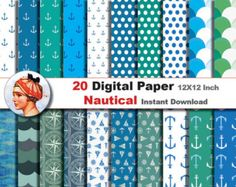 20x  Nautical paper - Digital paper patterns - Scrapbooking Paper, Instant Download (No. 25)