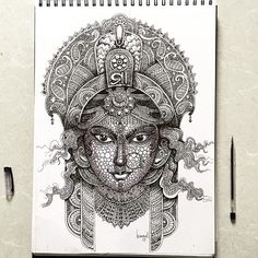 "Bijay Biswaal on Instagram: ""दीपावली , all that glitters is not gold . #ballpen #sketchbook #diwali #deepavali #hindu #goddess #shakti #mothers #dhanteras…"" Doodle Art Designs, Outline Designs, Durga Painting, Pen Sketch, Hindu Art, Art Drawings Sketches, Religious Art, Figure Drawing, Art Girl"