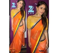 Kareena Looks Gorgeous In Orange Saree At Navel Show