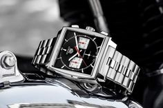 TAG Heuer - Monaco Heuer 02, new models with steel bracelets | Time and Watches | The watch blog Tag Heuer Monaco, Chronograph, Link Bracelets, Metal Bracelets, Steve Mcqueen, New Model, Tags, Monochrome, Stainless Steel Bracelet