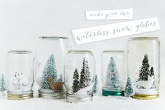 Waterless snow globes DIY- these are too adorable!
