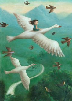 As she toured, along came a flock of giant geese; one picked her up to ride with it across the magical skies...