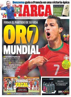 'Oro Mundial' | La portada del 20 de noviembre de 2013
