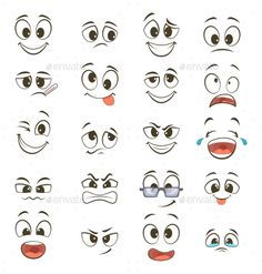 Cartoon Faces with Different Expressions by ONYXprj Cartoon happy faces with different expressions Vector illustration Happy face emotion funny character emoticon caricat. Cartoon Cartoon, Funny Cartoon Faces, Funny Cartoon Characters, Happy Cartoon, Cute Cartoon Eyes, Funny Cartoons, Cartoon Faces Expressions, Cartoon Expression, Kawaii Drawings