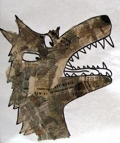 Newspaper collage for texture Animal Art Projects, Animal Crafts, Newspaper Collage, Collage Art, Journal D'art, Traditional Tales, Ecole Art, Little Pigs, Art Club