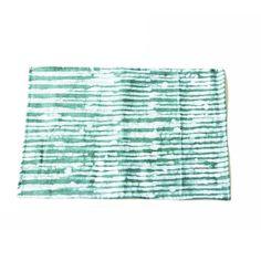 Linen Placemat- Green Reeds Stripe- Hand Batik Block Printed- Set of 4 - PLACEMAT- Rustic Loom #rusticloom