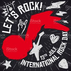 Commemorative blackboard with red grunge music note and some doodles symbolizing the rock 'n' roll culture, during the International Rock Day this 13th July. Free Vector Art, Music Notes, Photo Illustration, Image Now, Royalty Free Images, Rock N Roll, Grunge, Doodles, Culture