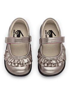 See Kai Run Belle Pewter Toddler Girls Mary Jane Shoes