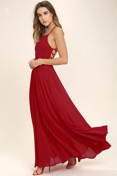 Lulus Exclusive! The Strappy to be Here Red Maxi Dress is your new fun go-to! Dreamy, lightweight Georgette sweeps across a princess-seamed bodice and strappy apron neckline, plus a lacing open back. Full maxi skirt has a bit of elastic at back. Hidden back zipper.