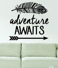 Amazon.com: Adventure Awaits Feather and Arrow Design Decal Sticker Wall Vinyl Art Words Decor: Home Improvement