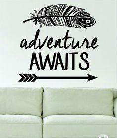 Amazon.com: Adventure Awaits Feather and Arrow Design Decal Sticker Wall Vinyl Art Words Decor: Home Improvement