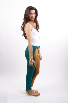 Show your effortless trendy style in these color block pants