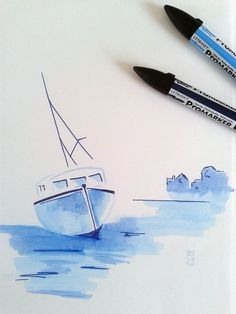 Drawn sailing boat doodle - pin to your gallery. Explore what was found for the drawn sailing boat doodle Boat Painting, Painting & Drawing, Watercolor Paintings, Marker Kunst, Marker Art, Colorful Drawings, Easy Drawings, Copic Drawings, Marker Drawings