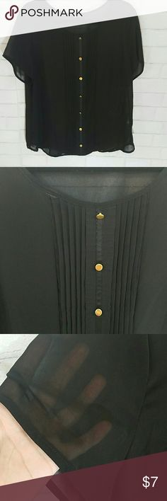 Sheer Black Top C.O.C. sheer black short-sleeved top with gold buttons down front. See pic for pleating detail down front. C.O.C. Tops Blouses