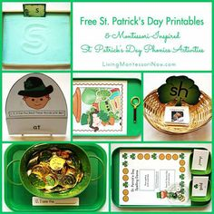Long list of free St. Patrick's Day printables plus ideas for using some of the printables to prepare Montessori-inspired phonics activities for preschoolers through 1st graders