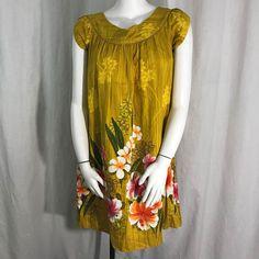 a99ff34be958 Details about Vtg 60s Tropicana Originals L Hawaiian Muumuu House Dress  Yellow Hibiscus Aloha