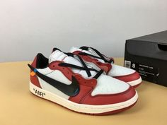 398203a78aff7 Off-White x Air Jordan 1 Low White Black-Varsity Red Custom For Sale