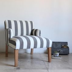 "Estudio V on Instagram: ""Silla baja con brazos, tapizada en Panama rayado crudo y negro!"" Ottoman, Chair, Furniture, Instagram, Home Decor, House Decorations, Arms, Couches, Studio"