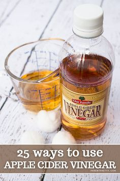 25 Ways to use apple cider vinegar! Amazing list of ways include beauty tips, cleaning tips and more!