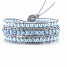 In-Stock and Ships in 24-hours. Victoria Emerson Wrap bracelet with reconstituted Light Turquoise and Imitation Pearl Beads on Gray Leather. 100% hand made with care. Unbelievable attention to detail.