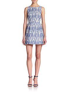 Alice   Olivia Epstein Ikat Cotton Chambray Dress