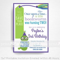 Bookworm Birthday Party Printable Invitation - YOU Print