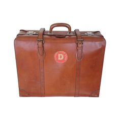 1930's brown leather suitcase with Cunard White Star D-Deck label | See more vintage Suitcases and Trunks at http://www.1stdibs.com/fashion/handbags-purses-bags/luggage-travel-bags/suitcases-trunks in 1stdibs