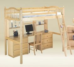 Twin Loft Bed w Desk, Hutch and Two 3 Drawer Chests - Birch