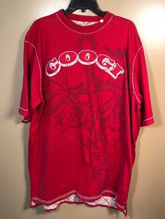 Mens Coogi Red Embroidered Short Sleeve Shirt Sz XXL #COOGI #GraphicTee