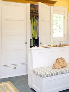 Handy Hideaway - If you have an outdoor entrance in your basement, keep coats, shoes and jackets organized with stylish built-in storage. This walk-by closet is spacious enough to manage all sorts of items, from bulky coats to blankets and hats. Make the most of your closet space by designating an area for hanging clothes as well as shelving space for bins or folded items.