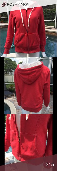 Cherry Red Cozy Hoody Cherry red cotton and poly hoodie lined with  off white faux fur. Full zipper with deep front pockets, and ribbed cuffs and waist. Cord tie to fasten hood. Hits at the hip. It new condition because I don't recall ever wearing it. It's not my size. Old Navy Jackets & Coats