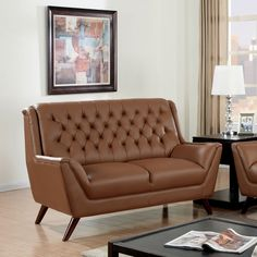 Furniture of America Valentino Mid-Century Modern Bonded Leather Loveseat