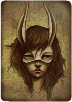 yeah!! rabbit mask on girl illustration!!