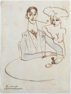 artimportant: Pablo Picasso - Au café, 1900 Watercolor on paper