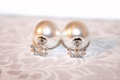 *Tiara with pearl stoppers* 925 Sterling silver earring hooks www.blushmonkey.com