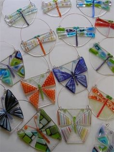 Butterflies and dragonflies fused glass.