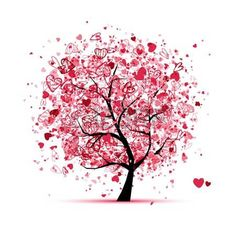 albero della vita: Albero di San Valentino con il cuore per la progettazione Vettoriali