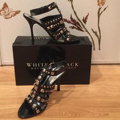 """Snake skin & studs!!! Never worn. Perfect!! With the box. Totally sexy shoes!! I HAD to have them.. & then never wore them...,?? Now I really just have nowhere to wear them! style is """"Latoya"""".4 1/2"""" heel. Wraps around ankle. White House Black Market Shoes Heels"""