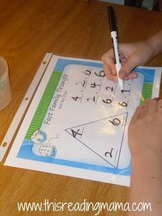 fact family game with dice; includes colorful printable FREE. Could use for multiplication and division fact family too!  Just need to do some adjusting.
