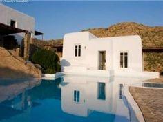 White washed sea view villa for sale near Agrari, Mykonos, Greece.
